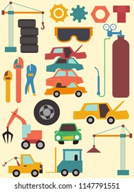 Illustration of Junkyard Elements from Cogs, Cards, Pliers to Crane