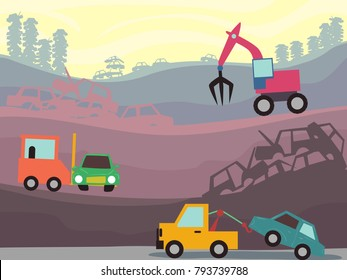 Illustration of Junkyard Heavy Equipment at Work Like Forklift and Crane