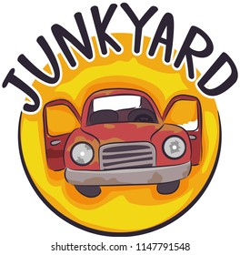 Illustration of a Junkyard Icon with an Old and Abandoned Card with Doors Open