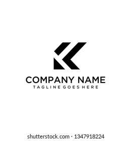Illustration of the K and F sign that is made minimalist, clean and modern for financial companies.