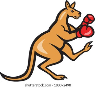 Illustration of a kangaroo kick boxer boxing with boxing gloves viewed from side on isolated background done in cartoon style.