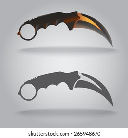 Illustration of karambit sharp knife. Two styles, illustration and icon.Claw shape