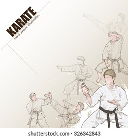 Illustration of karate. hand drawn. karate poster. Sport background.