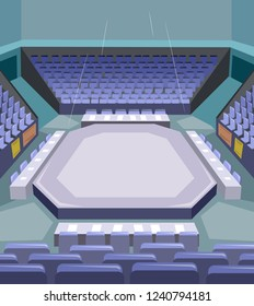 Illustration of a Karate or Taekwondo Stage with Empty Seats for Judge and Audience