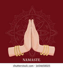 Illustration of karma depicted with Namaste, Indian women's hand greeting posture of namaste with lotus flower vector illustration