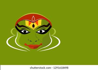 Illustration of a Kathakali artist's face