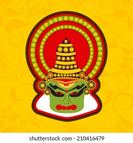 Illustration of Kathakali dancer face with traditional makeup and crown on a floral decorated yellow background for Onam festival celebrations.