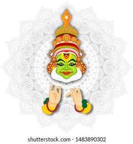 Illustration of Kathakali Dancer on white mandala pattern background.