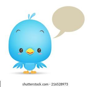 Illustration of Kawaii Blue Bird with blank bubble talk icon