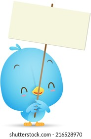 Illustration of Kawaii Blue Bird holding blank sign