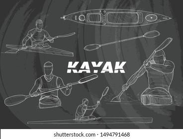 illustration of a kayak. chalk drawing vector style. sport background. sport sketch