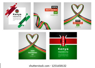 Illustration Of Kenya Independence Day Banner Or Poster Design Set With National Flag Color Theme Background.