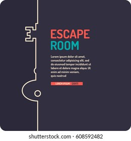 Illustration of key. Real-life room escape and quest game poster.