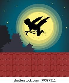 Illustration of kicking child over moon