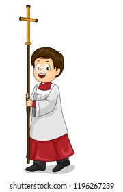 Illustration of a Kid Boy Altar Server Walking and Carrying a Cross