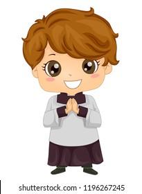 Illustration of a Kid Boy Altar Server in Uniform with Hands Together