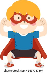 Illustration of a Kid Boy in Assertive Pose and Wearing Superhero Costume