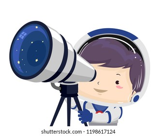 Illustration of a Kid Boy Astronaut Using a Telescope Looking Outer Space