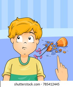 Illustration of a Kid Boy Being Asked Denying His Fault for Breaking the Vase