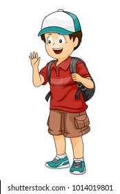 Illustration of a Kid Boy with a Cap and Carrying a Back Pack Waving Hello to a Friend