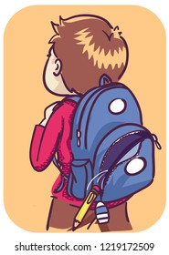 Illustration of a Kid Boy Carrying an Open Backpack with Things Falling Out Because of an Open Zipper