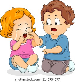 Illustration of a Kid Boy Consoling a Crying Kid Girl