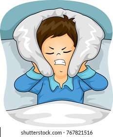 Illustration of a Kid Boy Covering His Ear with Pillow Having a Hard Time Sleeping Because of Noise