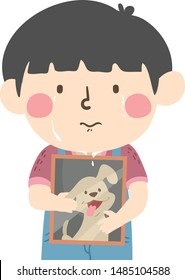 Illustration of a Kid Boy Crying and Hugging a Picture Frame of His Pet Dog