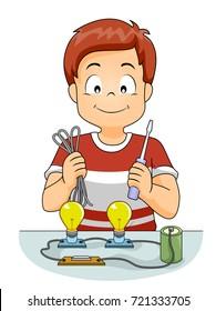 Illustration of a Kid Boy Demonstrating a Battery Powering Light Bulb