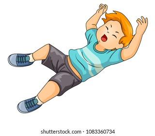 Illustration of a Kid Boy Falling Down the Floor