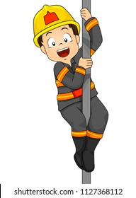 Illustration of a Kid Boy Fireman Riding Down a Fire Pole