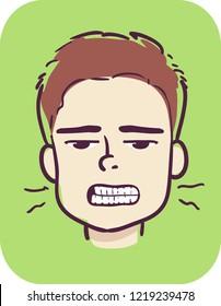 Illustration of a Kid Boy Grinding His Teeth