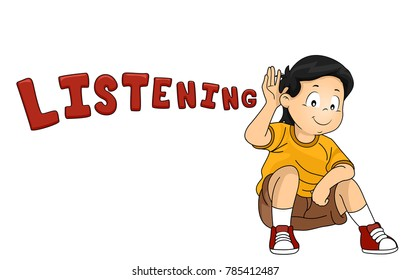 Illustration of a Kid Boy with Hands on His Ear with Listening Lettering