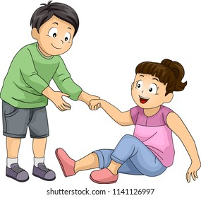 Illustration of a Kid Boy Helping a Kid Girl Stand Up. Positive Character Trait or Values