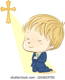 Illustration of a Kid Boy in His First Communion Suit Kneeling and Praying