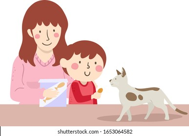 Illustration of a Kid Boy with His Mother Giving their Pet Cat a Treat