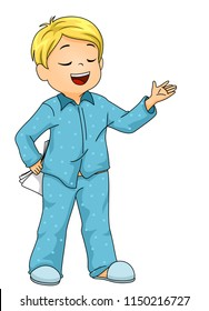 Illustration of a Kid Boy in His Pajamas Practicing His Script for His Play