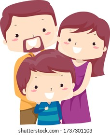 Illustration of a Kid Boy with His Parents as the Only Child in the Family