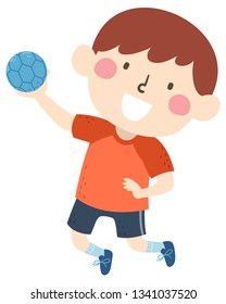 Illustration of a Kid Boy Holding a Ball in His Hand, Playing Handball