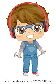Illustration of a Kid Boy Holding Chisel and Hammer and Wearing Gloves, Goggles and Headphones for Woodworking