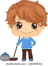 Illustration of a Kid Boy Holding a Curling Brooms with a Curling Stone Beside It