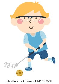Illustration of a Kid Boy Holding Floorball Stick and Wearing Glasses