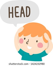 Illustration of a Kid Boy Holding His Head and Saying Head as Part of Naming Body Parts Series
