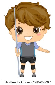 Illustration of a Kid Boy Holding a Javelin or Spear