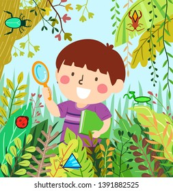 Illustration of a Kid Boy Holding Magnifying Glass and a Book Looking for Insects in the Wild