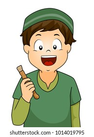 Illustration of a Kid Boy Holding a Miswak Stick for Cleaning Teeth