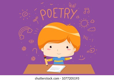 Illustration of a Kid Boy Holding a Pencil with Paper Writing Poetry