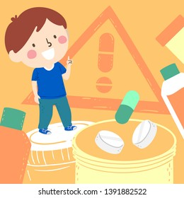 Illustration of a Kid Boy with Index Finger Pointing Up and Tablets and Pills Around. Medicine Awareness
