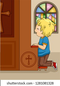 Illustration of a Kid Boy Kneeling Down the Confessional Inside Church Confessing His Sins