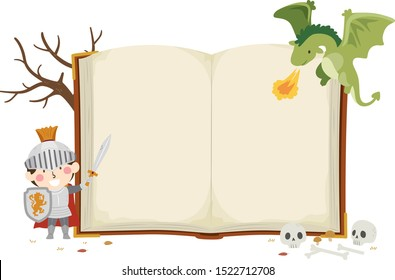 Illustration of a Kid Boy Knight Holding Sword and Shield with an Open Book and a Dragon Spitting Fire